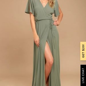 Much obliged wrap green olives maxi dress